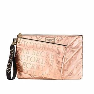 🔴 VICTORIA'S SECRET Rose Gold Clutch Set